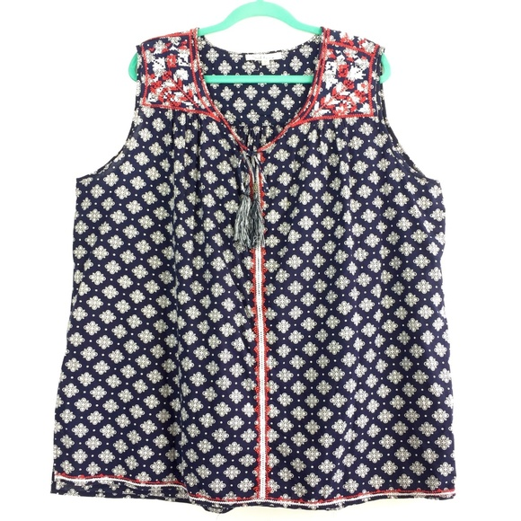 a2cedb7be7e Solitaire Tops - Solitaire Plus Size 3X Navy Blue Red Blouse